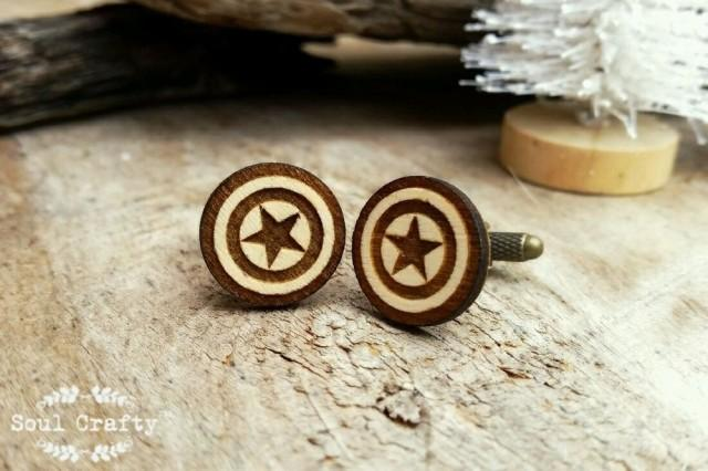 wedding photo - Captain America Shield Wooden Cufflinks Superhero Dad Grooms Best man Groomsman