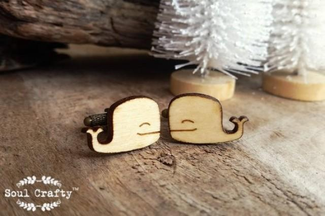 wedding photo - Sperm Whale Wooden Cufflinks Cachalot whale Sea animal creature Dad Grooms Best man Groomsman Rustic Wedding Birthday Gift Cuff links