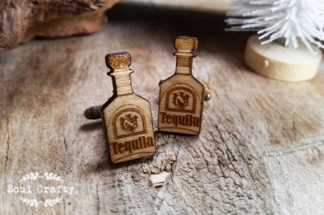 wedding photo - Tequila bottle Wooden Cufflinks hard liquor Dad father's day Grooms Best man Groomsman Rustic Wedding Birthday Gift Cuff links