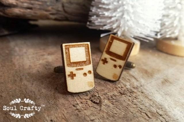 wedding photo - Nintendo Game Boy Wooden Cufflinks retro game tetris Dad Grooms Best man Groomsman Rustic Wedding Birthday Gift Cuff links