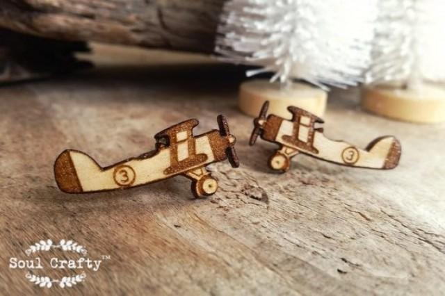 wedding photo - Vintage Airplane Wooden Cufflinks Aeroplane Plane Retro Dad Grooms Best man Groomsman Rustic Wedding Birthday Gift Cuff links