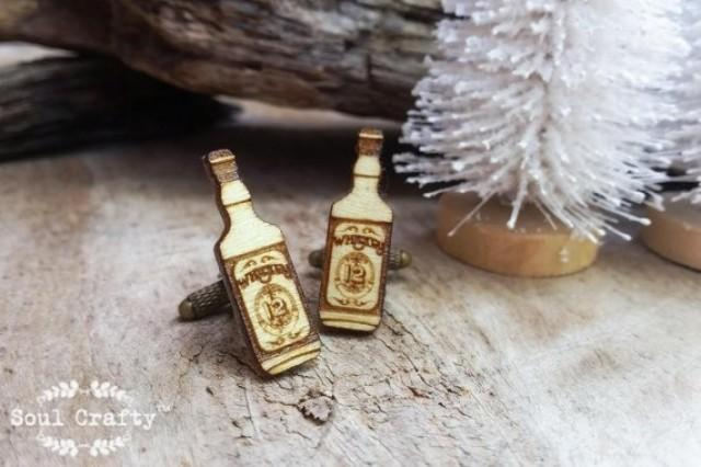 wedding photo - Whiskey Bottle Wooden Cufflinks hard liquor Dad Grooms Best man Groomsman Rustic Wedding Birthday Gift Cuff links
