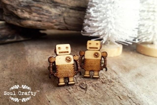 wedding photo - Tin Robot Wooden Cufflinks Retro Toys Children toys Dad Grooms Best man Groomsman Rustic Wedding Birthday Gift Cuff links