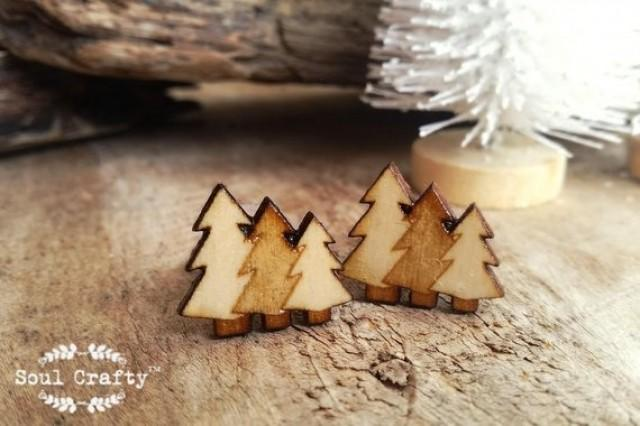 wedding photo - Pine Trees Wooden Cufflinks Christmas Camping Forest Hiking Adventure Dad Grooms Best man Groomsman Rustic Wedding Birthday Gift Cuff links