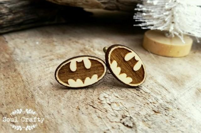 wedding photo - Batman Wooden Cufflinks Superhero Dad Grooms Best man Groomsman Rustic Wedding