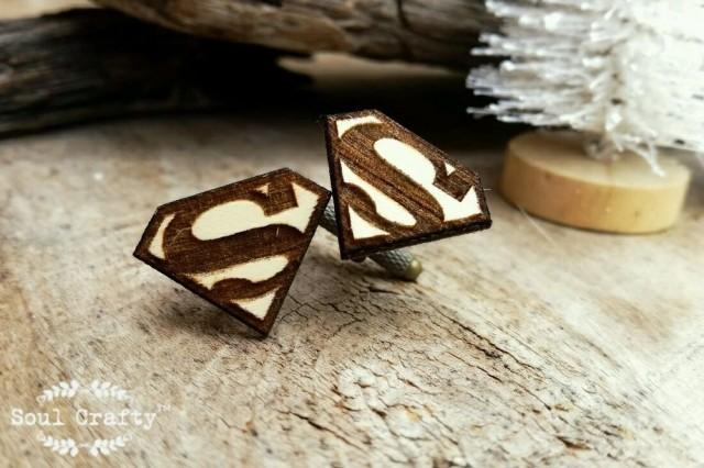 wedding photo - Superman Wooden Cufflinks Superhero Dad Grooms Best man Groomsman Rustic Wedding