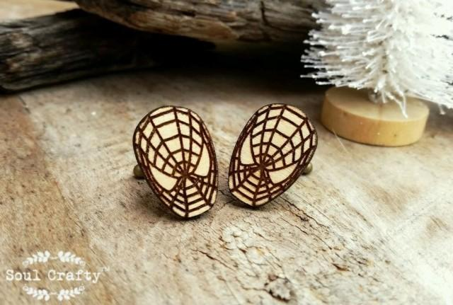 wedding photo - Spiderman Wooden Cufflinks Superhero Mask Dad Grooms Best man Groomsman Rustic