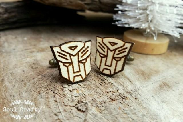 wedding photo - Transformer Wooden Cufflinks Superhero Robot Mask Dad Grooms Best man Groomsman