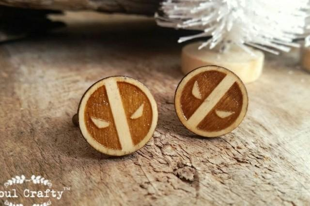 wedding photo - Deadpool Wooden Cufflinks Super Hero Dad Grooms Bestman Groomsman Rustic Wedding