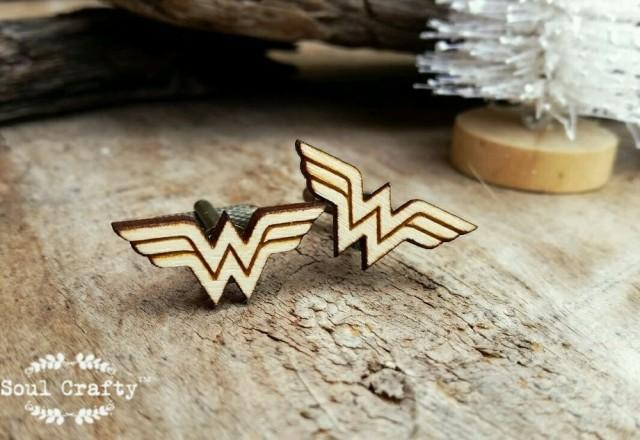 wedding photo - Wonder Woman Wooden Cufflinks Superhero Dad Grooms Best man Groomsman Rustic