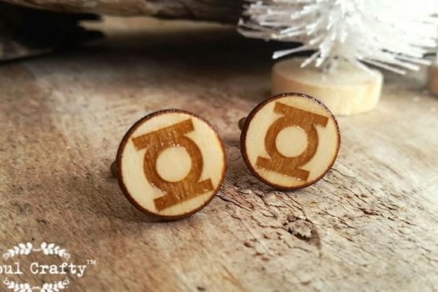 wedding photo - Green Lantern Wooden Cufflinks Super Hero Dad Grooms Best man Groomsman Rustic