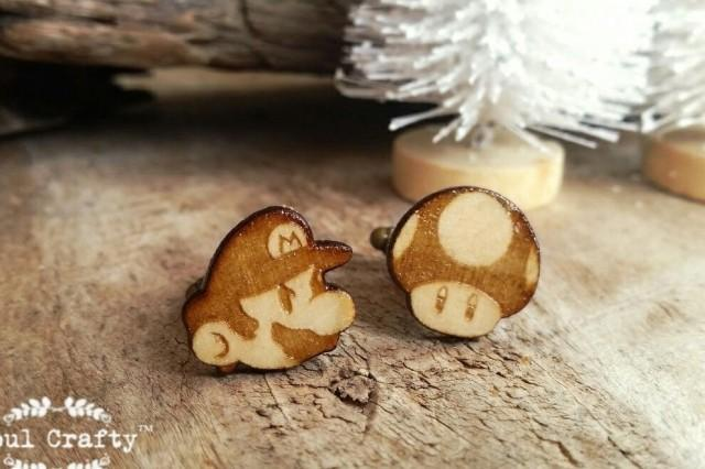 wedding photo - Mario Bros Wooden Cufflinks Magic Mushroom Dad Grooms Best man Groomsman Rustic