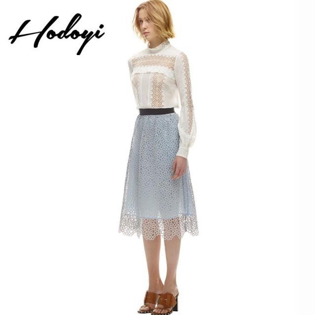 Fall 2017 new women's high waist fashion romantic lace long skirt - Bonny YZOZO Boutique Store