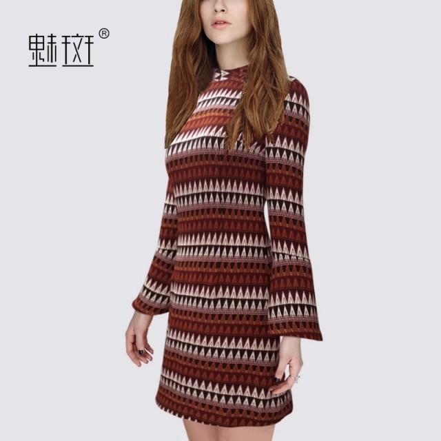 2017 autumn new plus size ladies ' slim skirt trumpet sleeves make printed dress - Bonny YZOZO Boutique Store