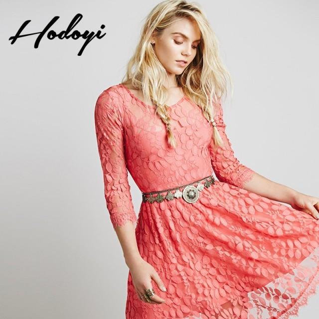 2017 summer new women's sweet temperament slim asymmetric flower mesh lace dress - Bonny YZOZO Boutique Store