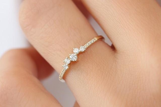 Diamond Ring / 14k Gold Diamond Cluster Ring / Diamond Stackable Ring / Bridal Jewelry / Diamond Wedding Band / Graduation Gift
