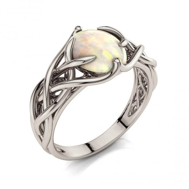 Opal engagement ring, Celtic Engagement Ring, Braided Opal ring, Unique engagement ring, Filigree engagement ring, White Gold opal, 2051