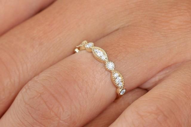 Vintage Wedding Band / 14k Solid Gold Art Deco Diamond Wedding Ring / Marquise Matching Band / Anniversary Ring / Stackable Diamond Ring