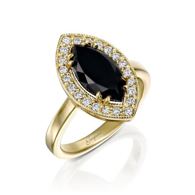 Black Diamond Engagement Ring In 14k White Gold 2.00 Marquise Shape Diamond And White Diamonds, Antique Engagement Ring, Rings For Women