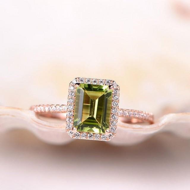 Peridot Ring Emerald Cut Peridot Engagement Ring 6x8mm Gemstone Ring Natural Diamond Wedding Band Diamond Ring Solid 14k Rose Gold Ring