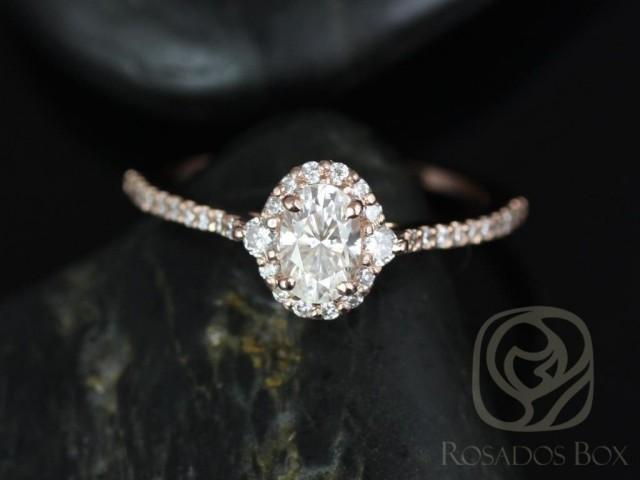 Rosados Box Bridgette 6x4mm 14kt Rose Gold Oval F1- Moissanite and Diamonds Halo Engagement Ring