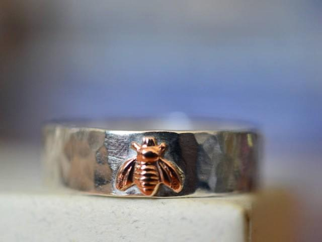 14K Rose Gold Bee Ring, 6mm Wide Sterling Silver Wedding Band, Custom Engraved Ring, Personal Inscription, Unisex Ring, Men's Wedding Ring