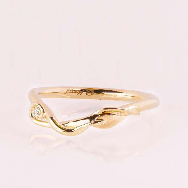 Leaves Diamond Ring, Leaf Wedding ring, 14K Gold and Diamond Wedding Ring, leaf ring, Elven Wedding Ring, leaves stacking ring, Leaf ring