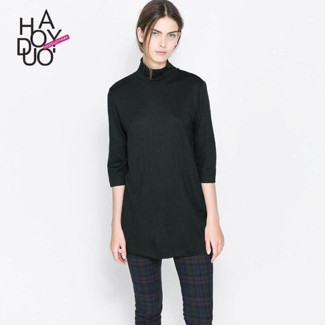 2017 spring new Vogue back deep V hollow-out high neck basic T-Shirt - Bonny YZOZO Boutique Store