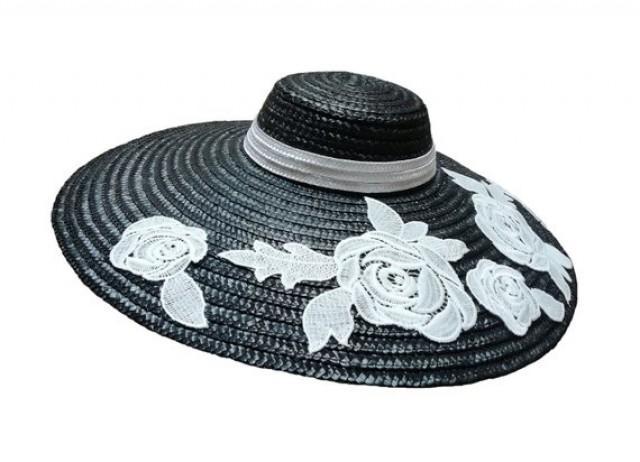 wedding photo - Black wide brim hat. Black straw hat. PA-Pa001