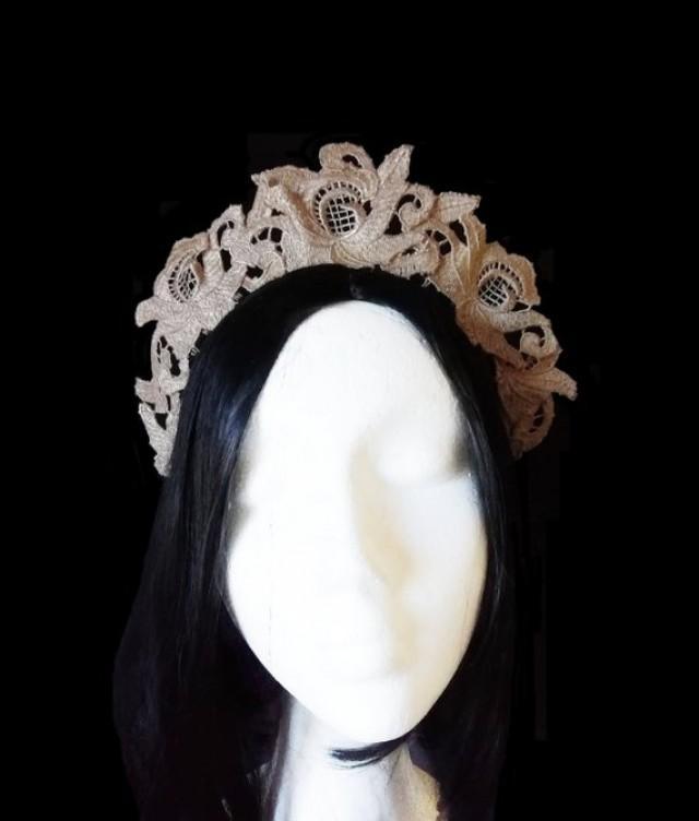 wedding photo - Gold lace crown, renaissance style. Bridal crown. Wedding tiara.