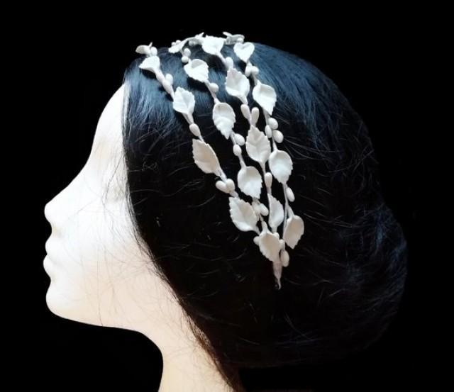 wedding photo - White leaf bridal headband. Wedding headpiece. Leaf wreath.