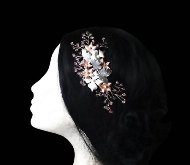 wedding photo - Butterfly bridal comb. Wedding headpiece. Crystal hair piece.