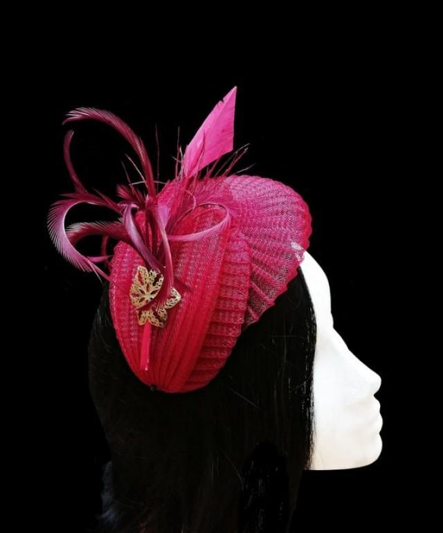 wedding photo - Burgundy fascinator hat. Dark red races hat.