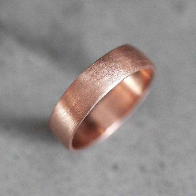 Rose Gold Men's Wedding Band, Thick Brushed 7mm Low Dome 10k Recycled Hand Carved Rose Gold Wedding Ring  - Made in Your Size