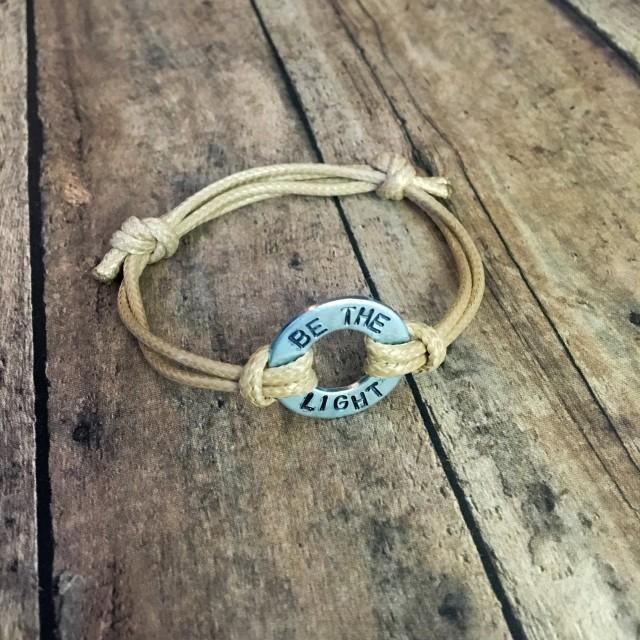 Waxed Cord Adjustable Bracelet with Customizable Washer