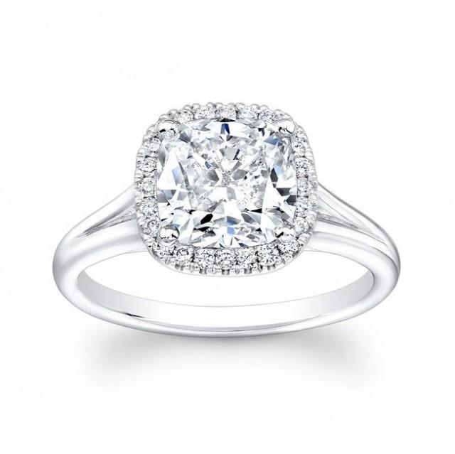 Vintage engagement ring cushion halo 0.25 carats G-VS2 diamonds and 1.70 carat Cushion shape White Sapphire Ctr