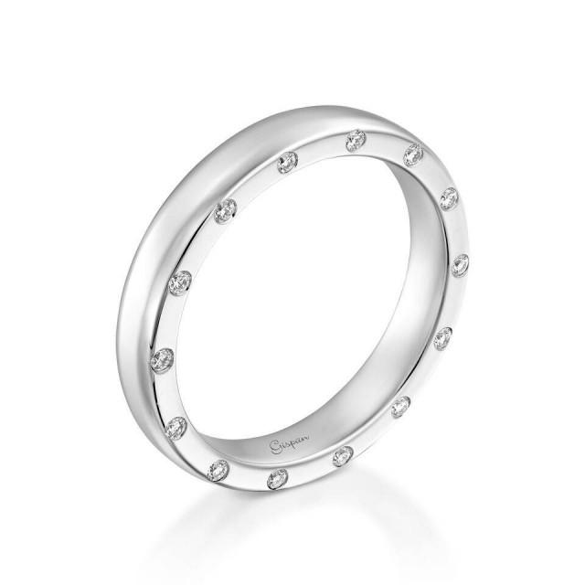 Mans Wedding Band In 14k White Gold With Natural Diamonds- Mans Wedding Ring, Promise Ring, Gold Ring Men,