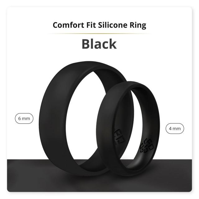 Silicone Wedding Ring Band - True Comfort Fit in Smooth Black - 4mm or 6mm