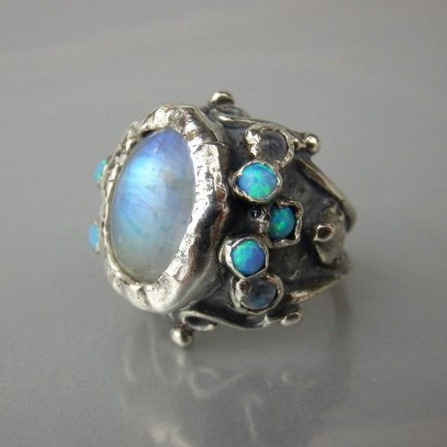 Oval Rainbow Moonstone Opal Queen Ring Sterling Silver Ring Big Statement Ring Size 4-11 affordable Engagement Ring