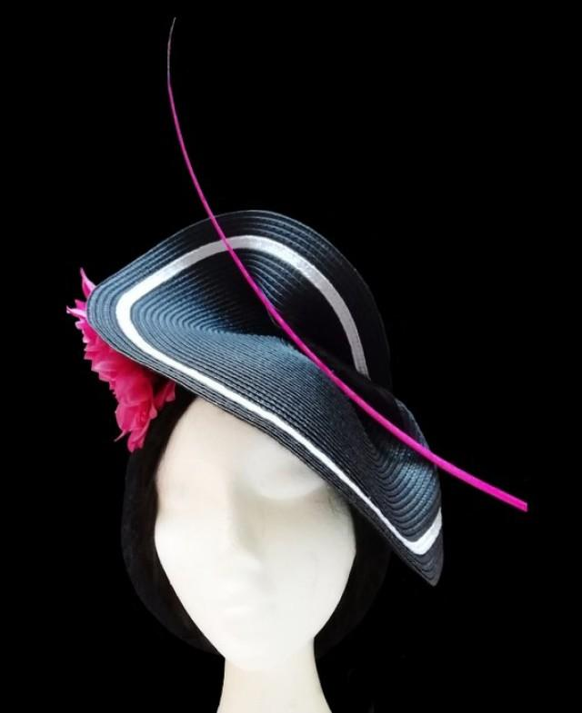 Black, white and fuchsia wedding hat. Kentucky derby. Ascot hat.