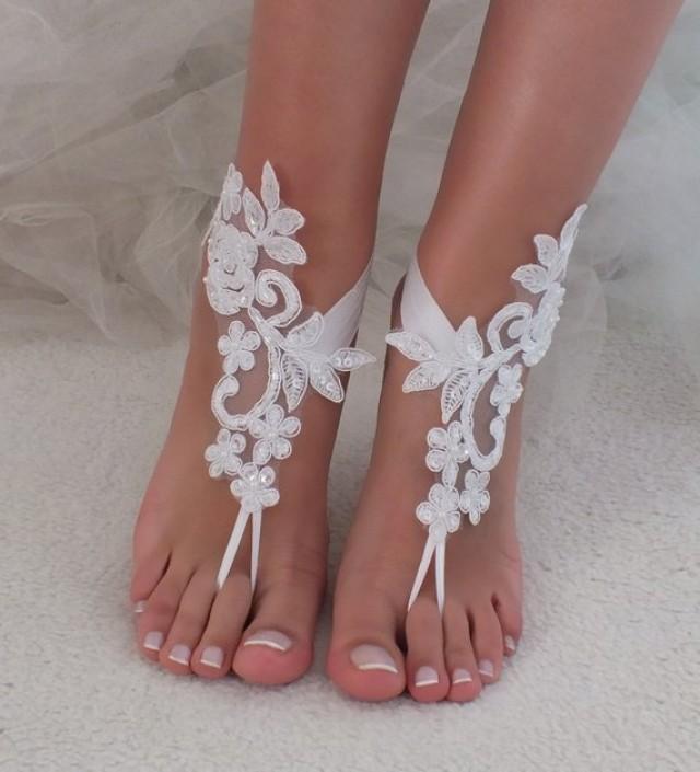 wedding photo - white or ivory lace barefoot sandals wedding barefoot Flexible wrist lace sandals Beach wedding barefoot sandals Wedding sandals Bridal Gift