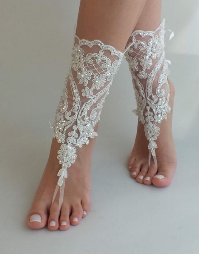 wedding photo - Lace barefoot sandals, Bridal shoes, Ivory barefoot sandals, Wedding anklet, Beach wedding lace sandals, Bridesmaid gift, Beach Shoes