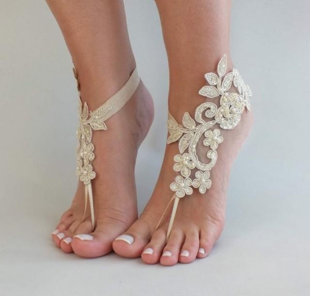wedding photo - Champagne Lace Sandal Beach Wedding Barefoot Sandals Bridesmaids Gift Bridal Jewelry Wedding Shoes Bangle Bridal Accessories Anklet