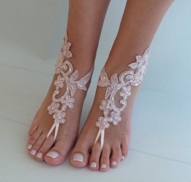 wedding photo - Blush Pink Lace Sandal Beach Wedding Barefoot Sandals Bridesmaids Gift Bridal Jewelry Wedding Shoes Bangle Bridal Accessories Anklet