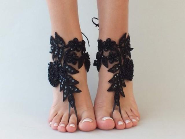 wedding photo - 6 COLOR Black barefoot sandals, Lace barefoot sandals, Bridal shoes, anklet, Beach wedding lace sandals, Bridesmaid gift, Shoes Goth wedding