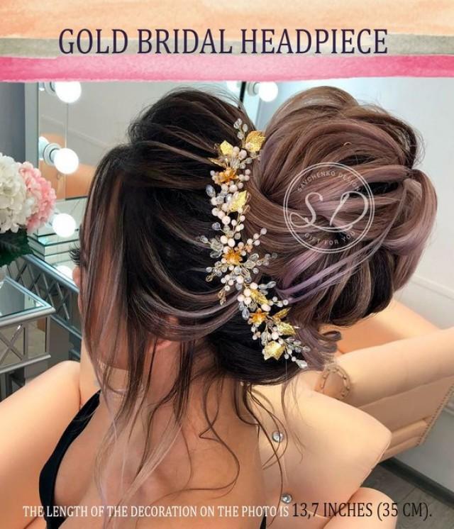 wedding photo - Gold Hair Vine Bridal Bohemian bridal headpiece Grecian head piece rose gold leaf hair comb fern hair comb greek haarkamm Silver