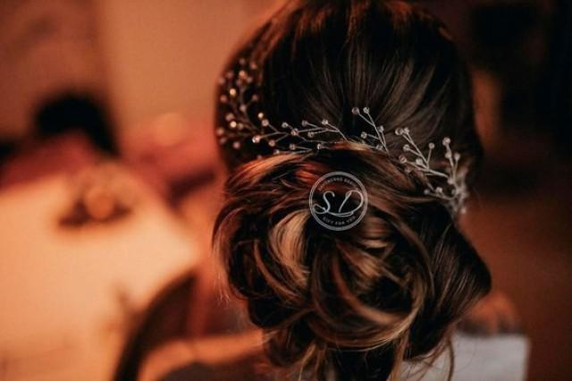 wedding photo - Extra Long Hair Vine Twisting Delicate Bridal Hair Vine Hair vine in pink with rose gold wedding head piece bridal hair vine swarovski