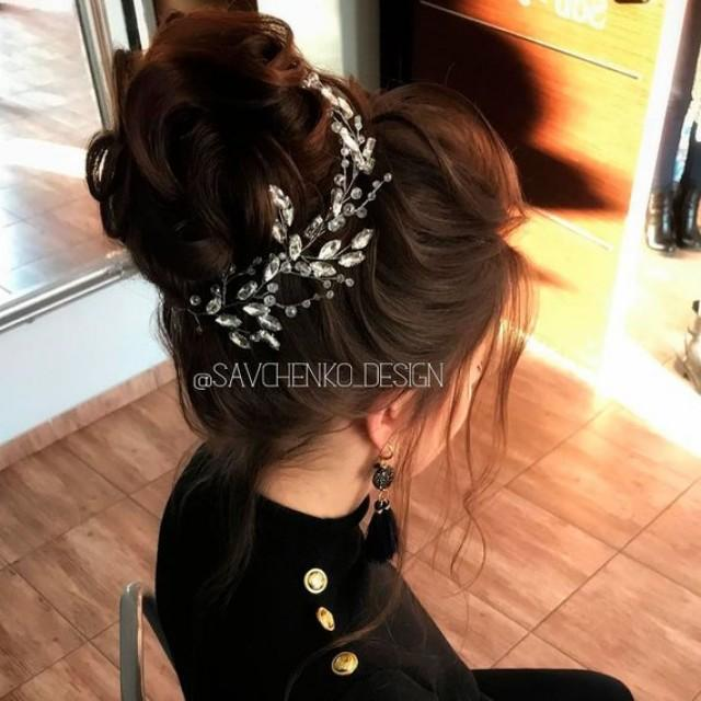 wedding photo - Bohemian headpiece Bridal Rose gold Hair Vine Crystal wreath Accessories for bride Headband Vintage Wedding Silver Bridal Wreath hairstyle