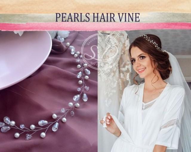 wedding photo - Crystal Pearl Hair Vine Wedding tiara bridal headpiece Babys breath hair piece Rose gold hair vine crystal bridal headband delicate