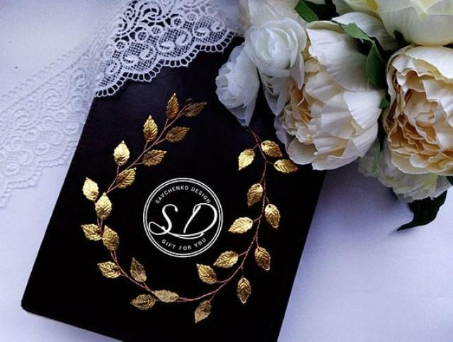 wedding photo - Extra long Gold Leaf hair vine Bridal gold Headband Wedding leafs tiara Greek Hair Vine Gold bridal halo Gold Leaf tiara headpiece